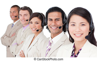 Young customer service representatives standing in a row...