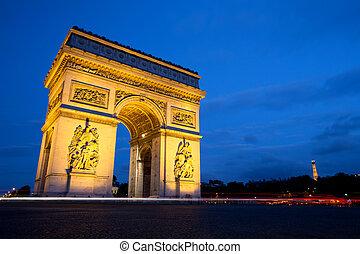 Arc de Triomphe at Night, Paris