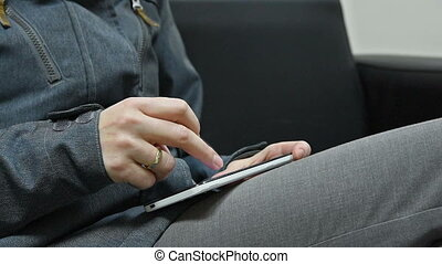Woman texting or typing sms by smart phone - Female hand...