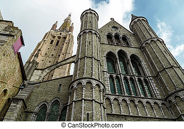 Gothic facade of the Church of Our Lady, Bruges, Belgium