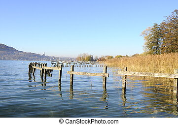 Annecy lake in France - Landscape of Annecy lake during fall...