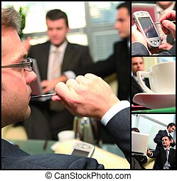 action in the office - this is business group networking...