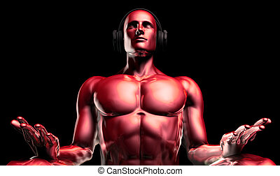 Man with Headphones Listening to Music Meditating in 3d