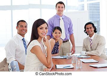 International business associates in a meeting. Business...