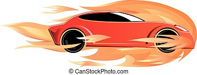 Speeding car on fire vector - Vector illustration of a fast...