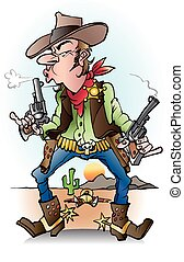 A sheriff at work - Vector cartoon illustration of a sheriff...