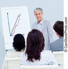 Mature businessman doing a presentation