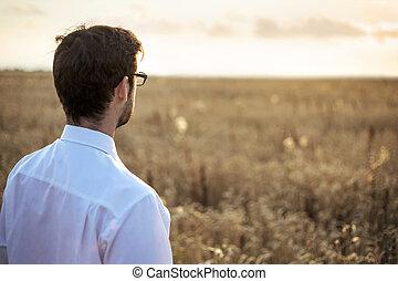 Businessman on a meadow at sunrise - Lucky businessman on a...