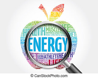 Energy word cloud with magnifying glass - Energy apple word...