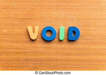 void  colorful word on the wooden background