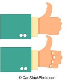 Thumb Up Gesture Hand - Vector illustration of hands with...
