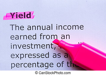 yield  word highlighted on the white background