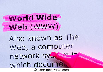 world wide web  word highlighted on the white background