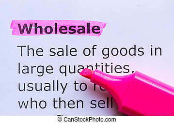 wholesale  word highlighted on the white background