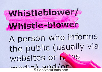 whistleblower  word highlighted on the white background