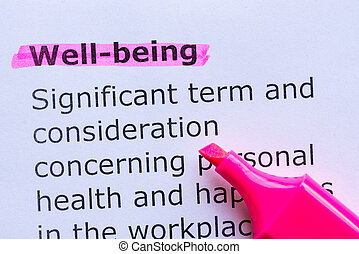 well being  word highlighted on the white background