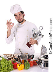 young chef with trophy