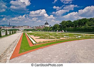 Gardens of Belvedere Palace in Viena, Austria