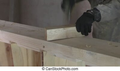 Work manufactures wooden staircase, carpentry