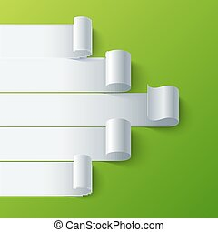 Curled blank paper stripe banners arrow on green background