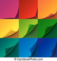 Set of curled rainbow paper square sheets with realistic shadows