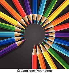 Circle of rainbow colored pencils with realistic shadow on dark grey background
