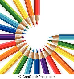 Circle of rainbow colored pencils with realistic shadows on white background
