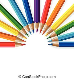 Semicircle of rainbow colored pencils with realistic shadows on white background
