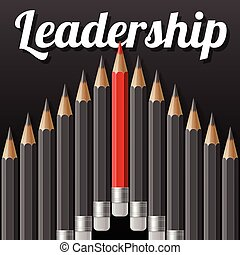Arrow shape of dark grey pencils with one outstanding red pencil and lettering text LEADERSHIP on black background
