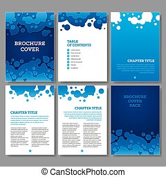 Cover, table of contents and 3 internal pages blue water circles brochure design