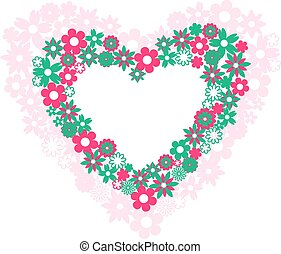 two hearts filled with flowers on white background