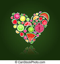Heart filled with fruits - Fruits in form of heart Vector...