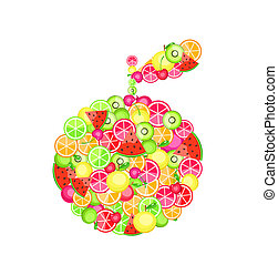 fruits - apple silhouette composed of different fruits -...
