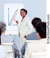 confiante, apresentação, executiva