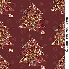 Seamless pattern with ornamental Christmas tree with reindeers, gift boxes and snowflakes