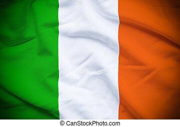 Ireland Flag - Wavy and rippled national flag of Ireland...