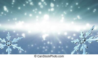 bokeh Christmas Snowflakes white - Ice crystal snowflake...