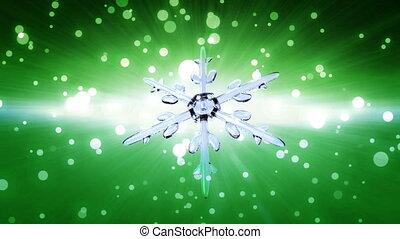 bokeh Christmas Snowflake green - Ice crystal snowflake...