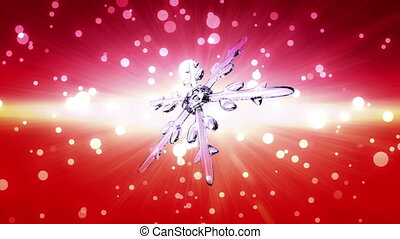 bokeh Christmas Snowflake red - Ice crystal snowflake...