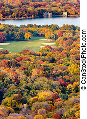 Aerial View Central Park and Reservoir in Autumn, New York -...