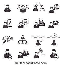 Business icons set, Leadership