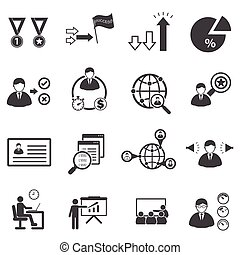 Business management icons set