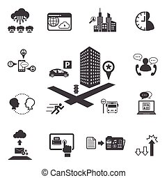 Big Data icons set, Business and technology