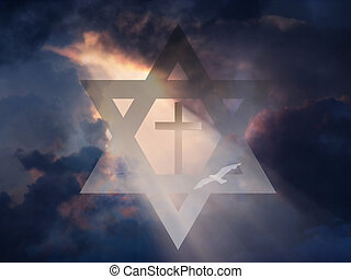 Cross inside Star of David