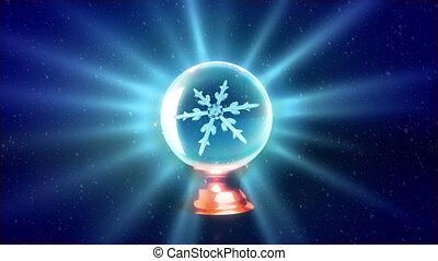 Christmas Snowflakes crystal ball blue - Christmas...
