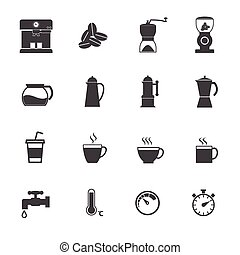 Coffee maker icons set