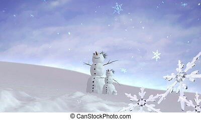 snowmen and kid Christmas Snowflakes falling background