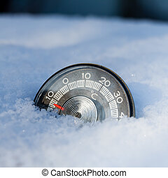 Cold weather concept - Thermometer in the snow shows low...