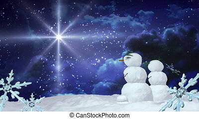 Christmas snowmen star with Snowflakes falling background