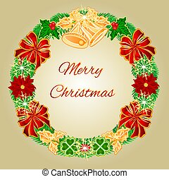 Merry Christmas Wreath  with bells  vector.eps